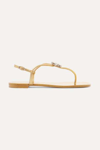 Nuvorock Crystal-Embellished Metallic Leather Sandals in Gold