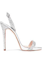 Giuseppe Zanotti Coline glittered metallic leather slingback sandals