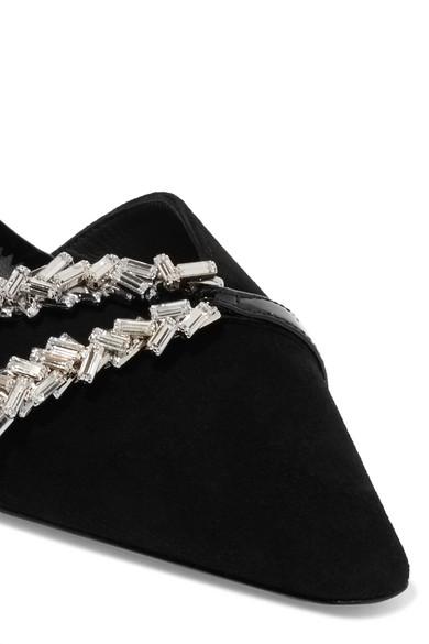 Giuseppe Zanotti | Notte und Slingback-Pumps aus Veloursleder mit Lederbesatz und Notte Verzierungen 430e17