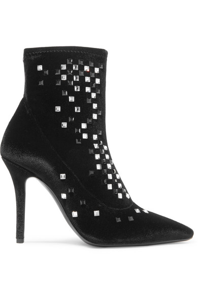 Women'S Crystal Studded Velvet Pointed Toe Booties in Black from 6PM.COM