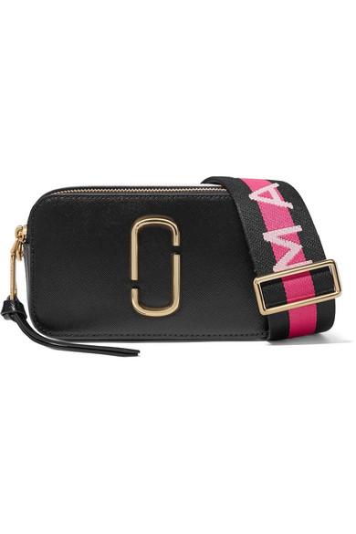 Ladies Black Snapshot Saffiano Leather Cross-Body Bag