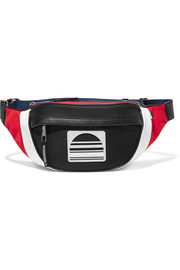 Sport color-block leather-trimmed twill belt bag