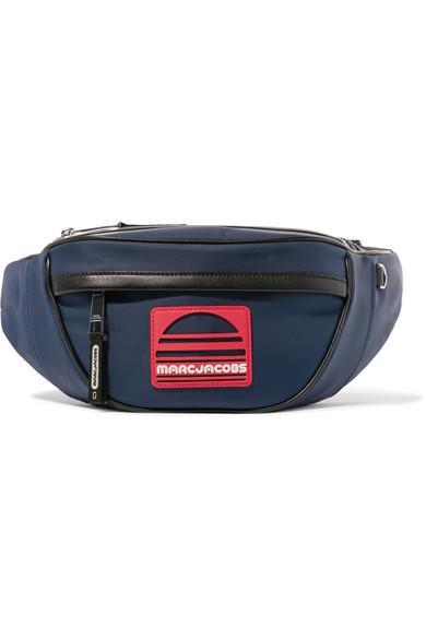 Logo-Appliquéd Leather-Trimmed Canvas Belt Bag, Navy