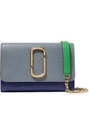 Snapshot color-block textured-leather shoulder bag