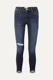 FRAME Le High Skinny Sweetheart distressed high-rise jeans