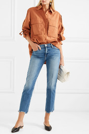 Le High cropped frayed straight-leg jeans