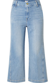 FRAME Twisted cropped high-rise wide-leg jeans