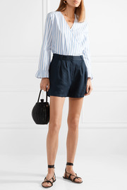 Pleated Lyocell and linen-blend shorts