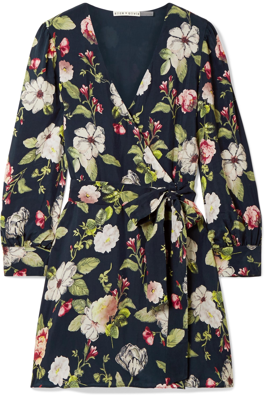 Alice + Olivia Hannah wrap-effect floral-print washed-satin mini dress