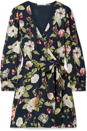 Alice + Olivia Hannah wrap-effect floral-print washed-satin mini dress