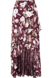 Alice + Olivia Walker asymmetric tiered floral-print fil coupé chiffon maxi skirt