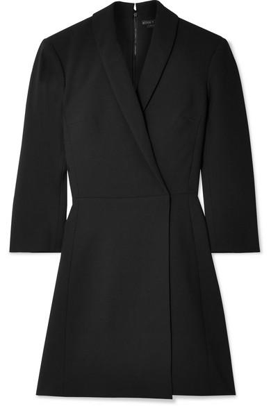 Brenda Shawl-Collar Crossover Crepe Mini Dress, Black