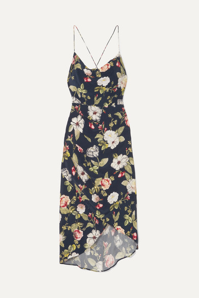 Reena Wrap Effect Floral Print Matte Satin Dress by Alice + Olivia