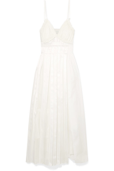 Pleated Paneled Cotton, Silk And Satin Midi Dress, Optic White