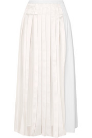 3.1 Phillip Lim Pleated satin and cotton-poplin midi skirt