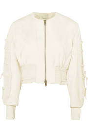 3.1 Phillip Lim Shirred cropped crepe bomber jacket