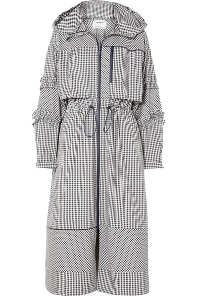 Hooded Ruffle Gingham-Print Long Parka Jacket, Black