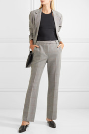 Checked wool-blend straight-leg pants