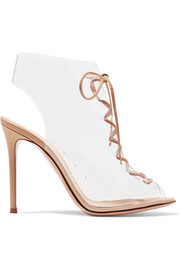Helmut Plexi 100 lace-up PVC and leather ankle boots