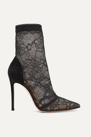 105 stretch-lace and suede sock boots