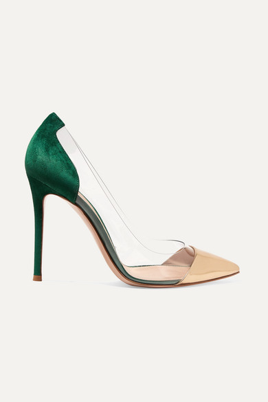 Plexi 105 Metallic Leather, Suede And Pvc Pumps, Green