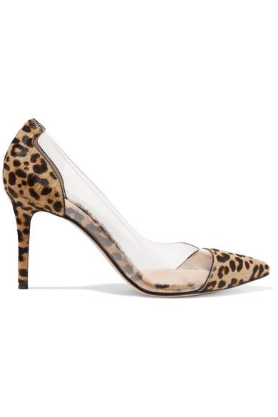 564677fa138f Gianvito Rossi | Plexi 85 leopard-print calf hair and PVC pumps ...