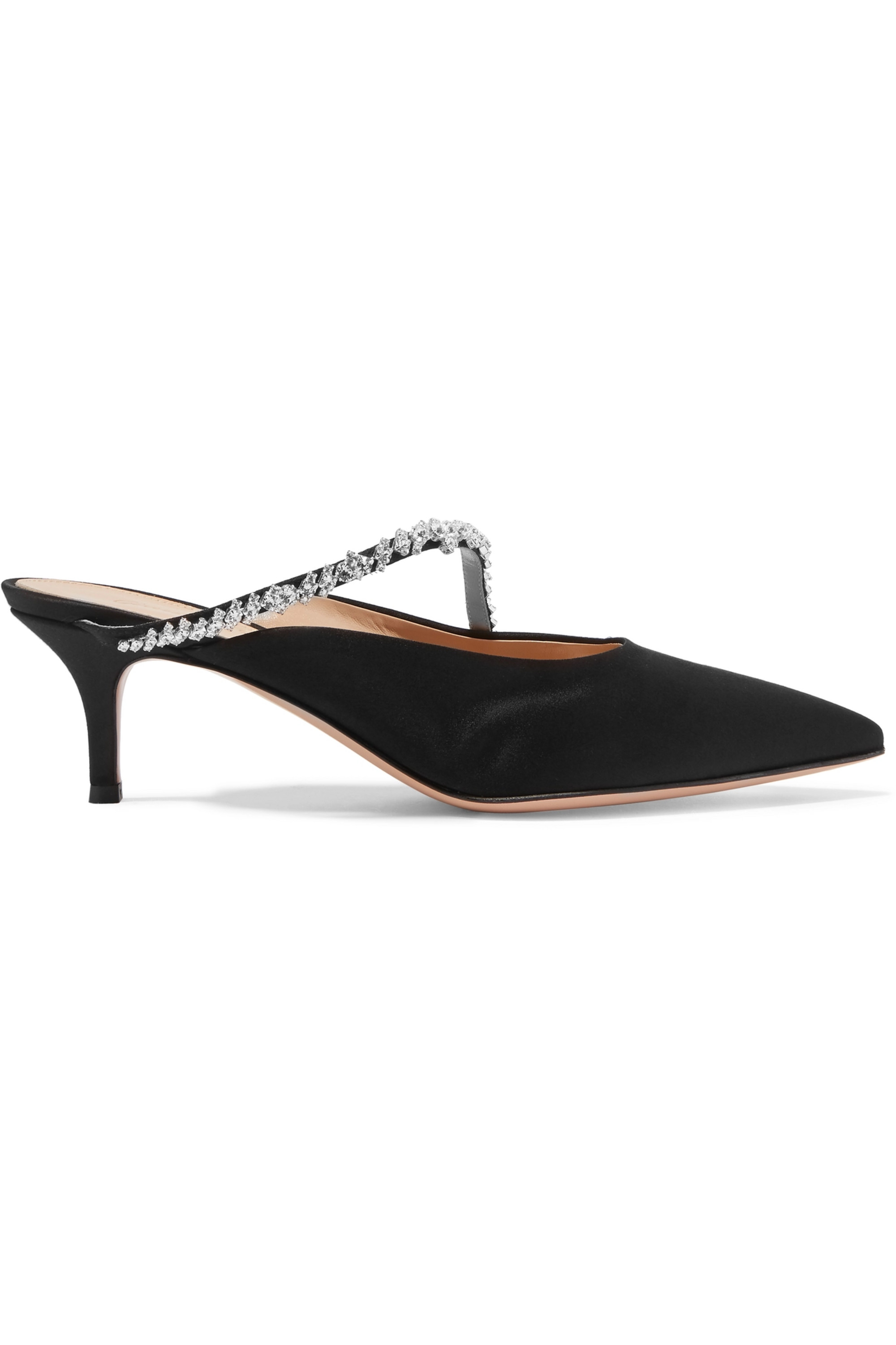 Gianvito Rossi 55 crystal-embellished satin mules