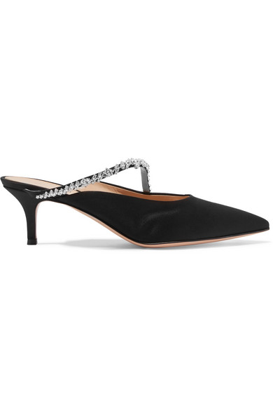 66ef883a3fb Gianvito Rossi. 55 crystal-embellished satin mules