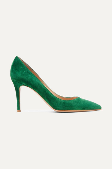 Gianvito 85 Point-Toe Suede Pumps, Green
