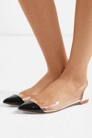 Plexi patent-leather and PVC point-toe flats