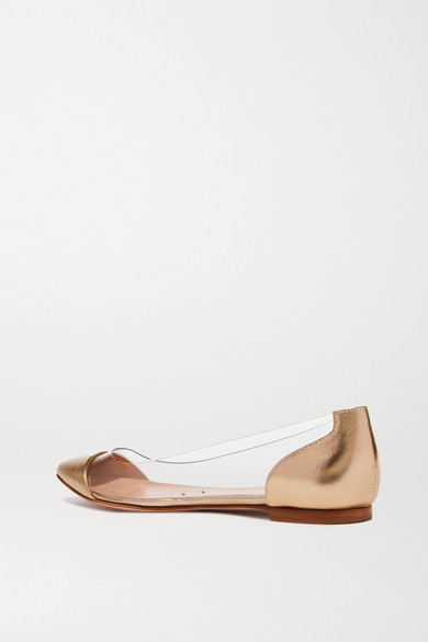 Flache Schuhe Aus Metallic-leder Und Pvc Mit Spitzer Kappe - Gold Gianvito Rossi pWbuM