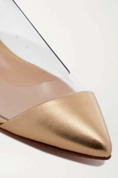 Metallic Leather And Pvc Point Toe Flats by Gianvito Rossi