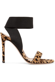 105 leopard-print calf hair sandals