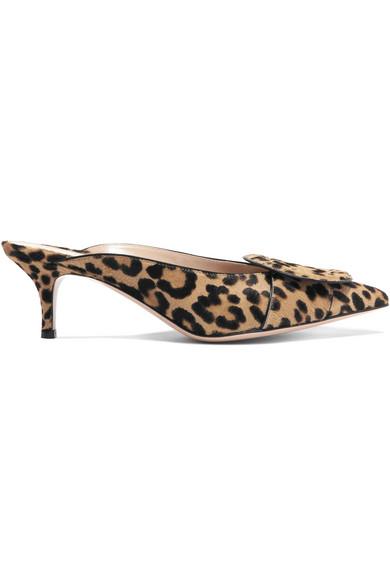 Gianvito Rossi - 55 Leopard-print Calf Hair Mules - Leopard print