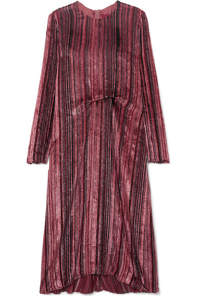 Sies Marjan - Maude Metallic Devoré-velvet And Chiffon Midi Dress - Purple