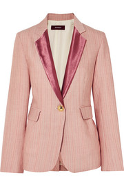 Sies Marjan Kaia satin-trimmed striped wool-blend blazer