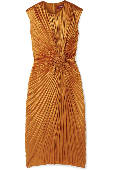 Sies Marjan - Nicole Pleated Satin Midi Dress - Orange