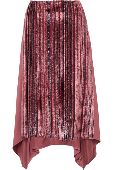 Sies Marjan - Darby Metallic Devoré-velvet And Pleated Chiffon Skirt - Pink