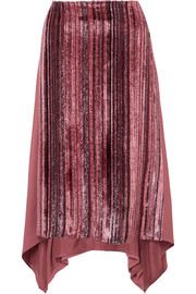 Darby metallic devoré-velvet and pleated chiffon skirt