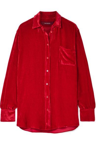 Sies Marjan - Sander Silk And Cotton-blend Corduroy Shirt - Red