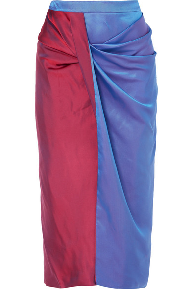 Sies Marjan - Libbie Draped Two-tone Iridescent Dégradé Satin-twill Midi Skirt - Blue