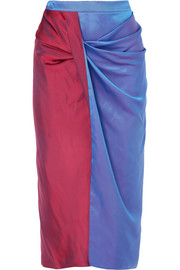 Libbie draped two-tone iridescent dégradé satin-twill midi skirt