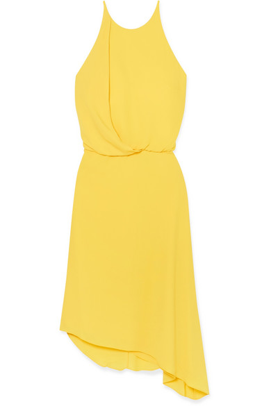 HALSTON HERITAGE Sleeveless Flowy Draped-Back Cocktail Dress in Yellow