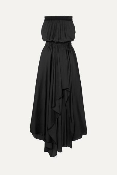 HALSTON HERITAGE Strapless Ruched Handkerchief Hem Maxi Dress in Black