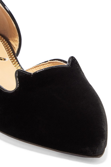 Charlotte Slippers Olympia | Kitty bestickte Slippers Charlotte aus Samt 507d1c