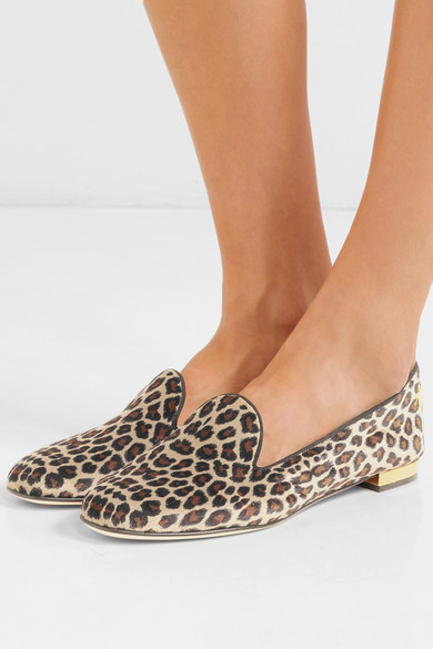 Charlotte Olympia | Nocturnal Leopardenprint Slippers aus Samt mit Leopardenprint Nocturnal und Stickerei 6cebd2