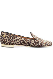 Nocturnal embroidered leopard-print velvet slippers