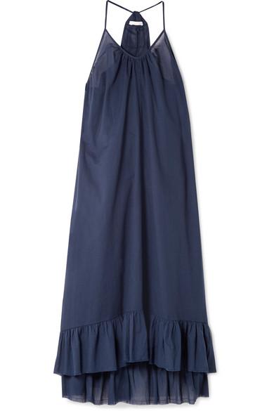 Blakey Ruffled Cotton-Voile Midi Dress in Indigo