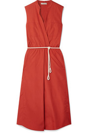Rope-trimmed cotton-poplin midi dress