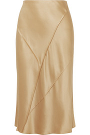 Vince Paneled silk-satin midi skirt